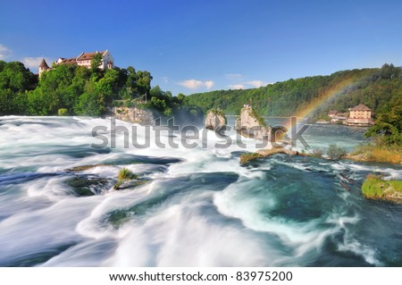 Rhine falls with a rainbow - stock photo