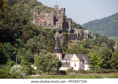 RHINE RIVER, GERMANY - SEP 14, 2016 - Reichenstein Castle on the  Rhine River, Germany