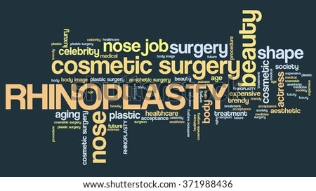Rhinoplasty - nose job cosmetic surgery. Word cloud concept. - stock photo