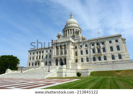 Rhode Island State House, Providence, Rhode Island, USA. Rhode Island State House was constructed in 1904 with Georgian style. - stock photo