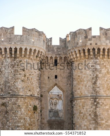 Rhodes, Greece - July 14: Main entrance to The Palace of the Grand Master of the Knights on 14 July, 2016 in Rhodes, Greece. It is one of the few examples of Gothic architecture in Greece.