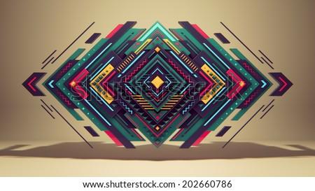 Rhombus colorful geometric pattern. - stock photo