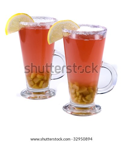 rhubarb compote with lemon isolated on a white - stock photo