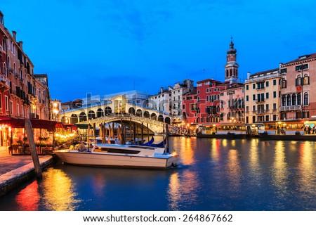 Rialto bridge and Grand Canal at twilight, Venice Italy - stock photo