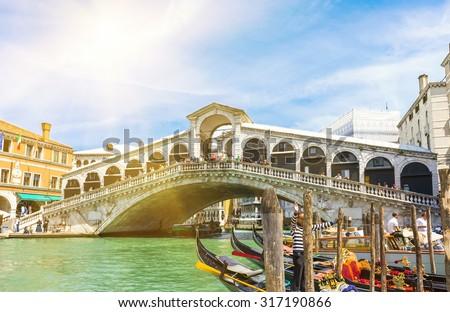 Rialto bridge and Grand Canal in Venice. Italy - stock photo