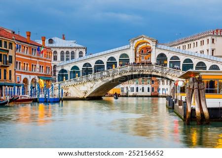 Rialto Bridge at dusk in Venice, Italy - stock photo