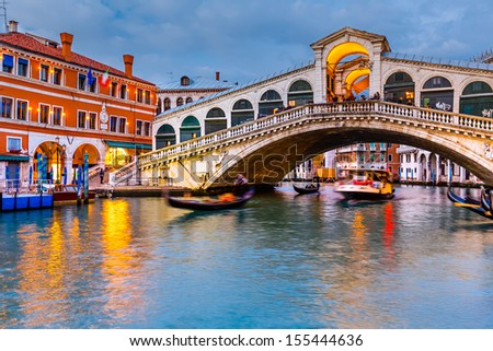Rialto Bridge at dusk, Venice, Italy - stock photo