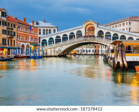 Rialto Bridge at dusk, Venice, Italy - stock photo