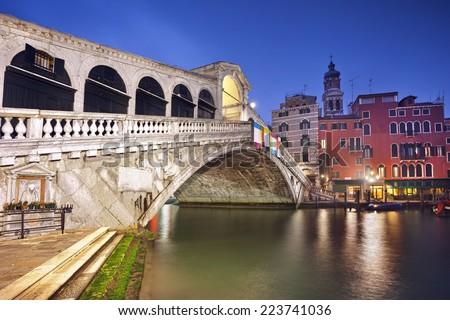 Rialto Bridge. Image of Rialto Bridge in Venice at dawn. - stock photo