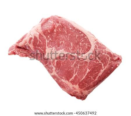 Rib Eye steak isolated on a white background - stock photo