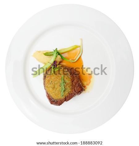 Rib eye steak with potato puree, isolated on white background - stock photo