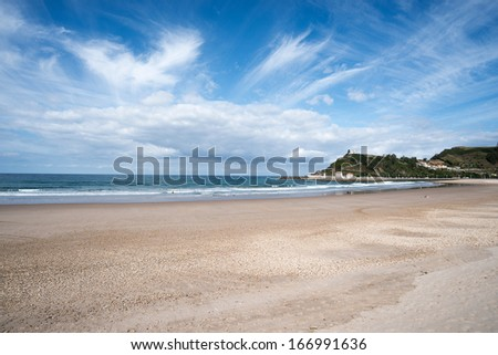 Ribadesella beach in Asturias, Spain. With fine sand