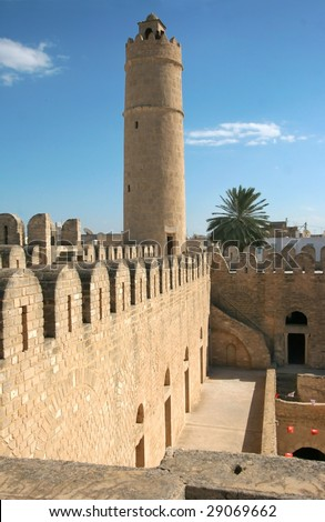Ribat. Ancient fort in Sousse Tunisia - stock photo