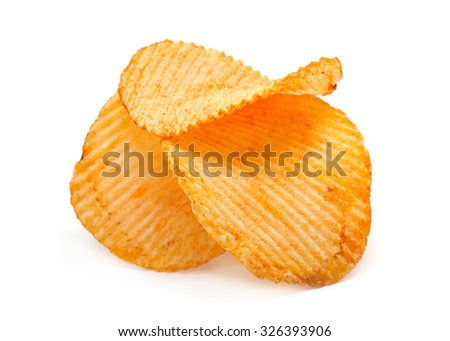 Ribbed potato chips snack on white - stock photo
