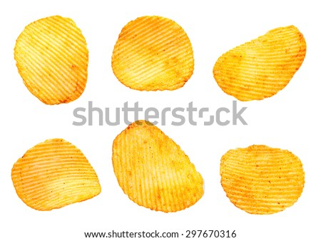 Ribbed potatoes snack collection with pepper isolated on white - stock photo