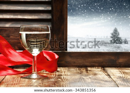 ribbon and glass of wine  - stock photo