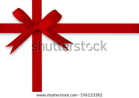 Ribbon and red bow on a white background. - stock photo