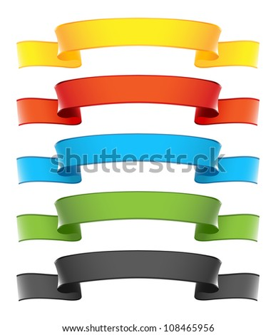 Ribbon Banners Set - stock photo