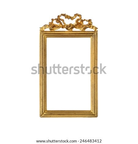 Ribbon Bow Crown Gold Picture Frame - stock photo