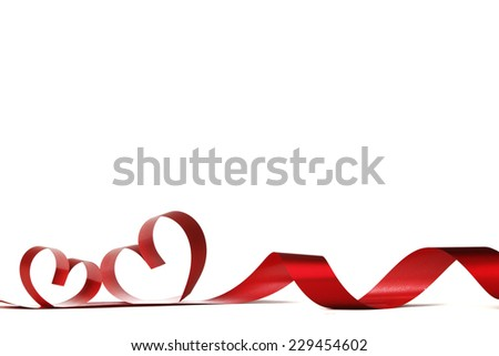 Ribbon hearts isolated on white frame, Valentines day design - stock photo