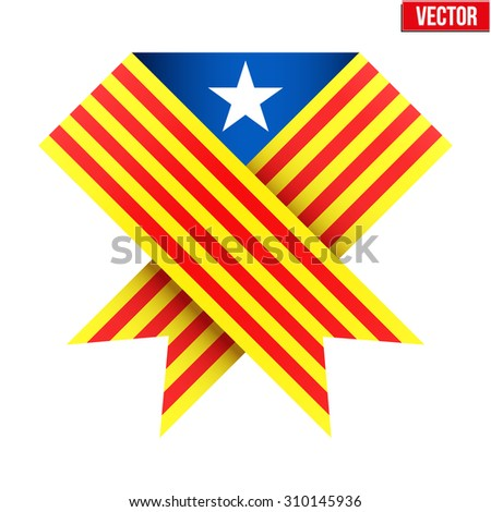 Ribbon of independence to support Catalonia. Illustration Isolated on white background. - stock photo