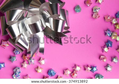 ribbon on gift box on background. - stock photo