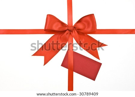 Ribbon, red bow with card