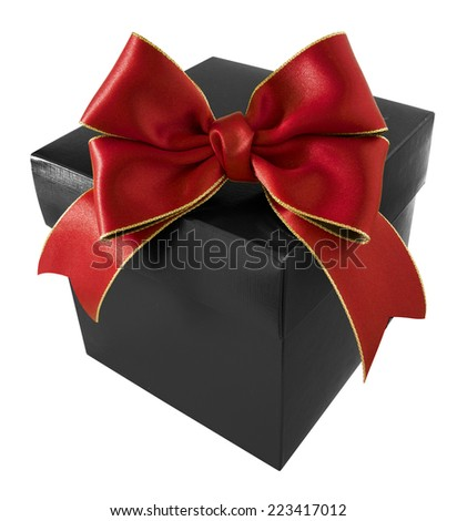 Ribbon with Gift Box on white background - stock photo