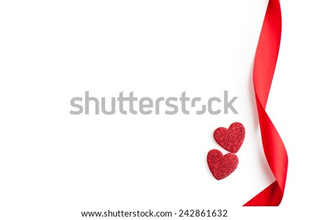 Ribbons and hearts on white, valentines day concept. - stock photo