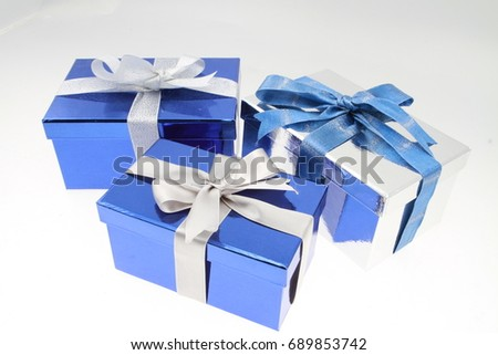 Ribbons gift box gold silver blue colorful