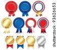 Ribbons Rosette Badge - stock vector