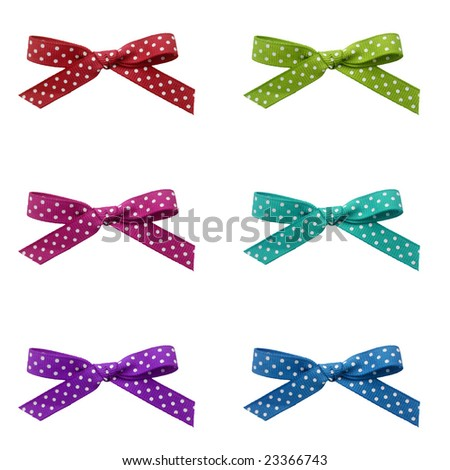 Ribbons with dots - stock photo