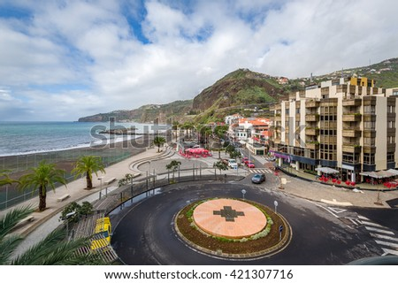 Ribeira Brava popular touristic town central square and Atlantic ocean embankment aerial view. Madeira island, Portugal.
