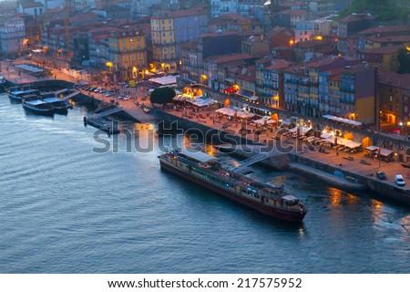 Ribera embankment in  old town of Porto, Portugal - stock photo