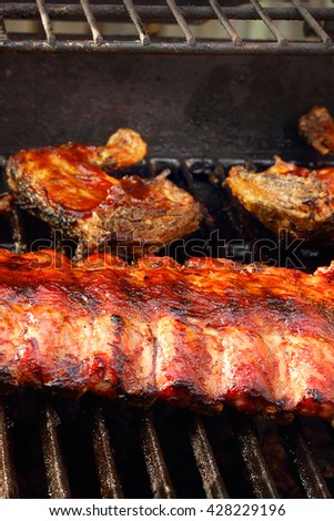 Ribs and chicken - stock photo