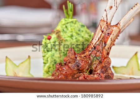 ribs calf with potato puree and vegetables - stock photo