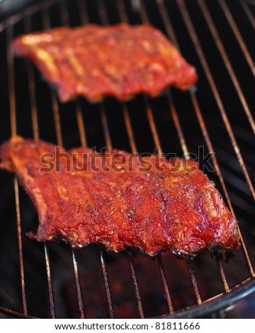 Ribs on the grill - stock photo