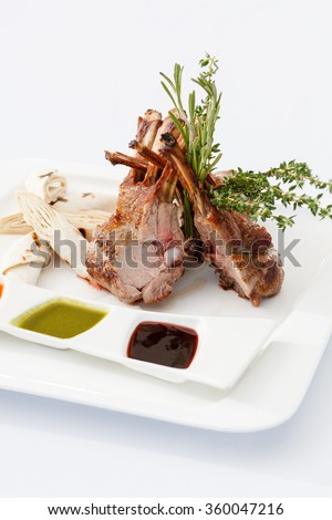 ribs with different sauces - stock photo