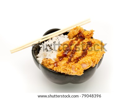 rice and fried pork cutlet with japanese sweet sauce - stock photo