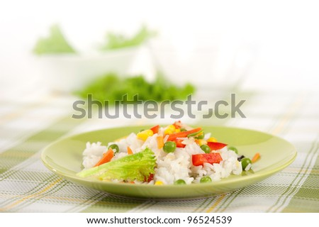 Rice and vegetables on a plate - stock photo