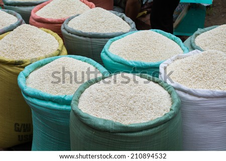 Rice at the Market in Luang Prabang, Laos - stock photo