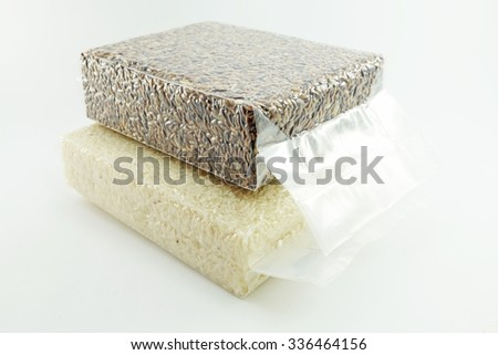 rice berry grain and jasmine rice grain packed in each Vacuum Storage Bag with bright background