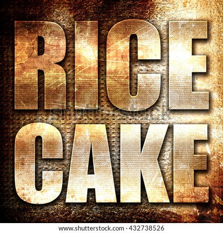 rice cake, 3D rendering, metal text on rust background
