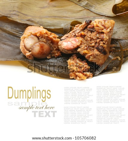 Rice dumplings with filling isolated on white - stock photo