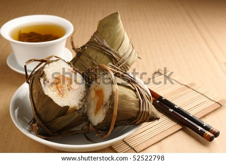 Rice dumplings with tea - stock photo