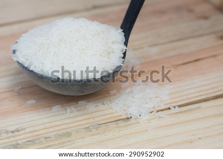 Rice from Thailand , Placed on wood