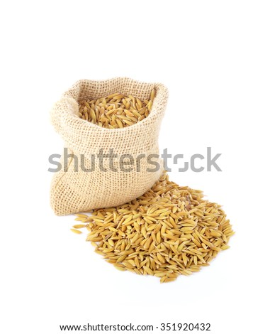 rice grains in a sack on a white background.