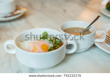Rice gruel breakfast on table