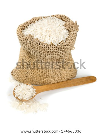 rice in a burlap bag isolated on white - stock photo