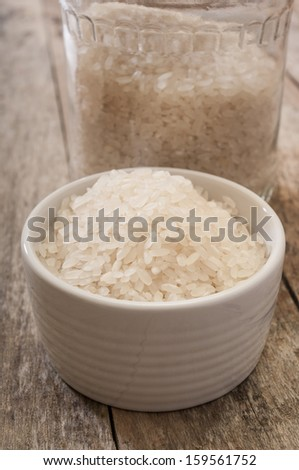rice in bowl on wooden background
